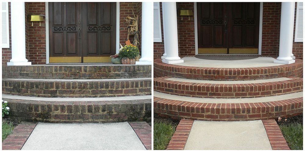 Power Washing Stoop Before & After